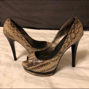 Snake pattern platform peep toe heels